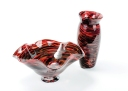 Red Vase and Bowl Set by Andy